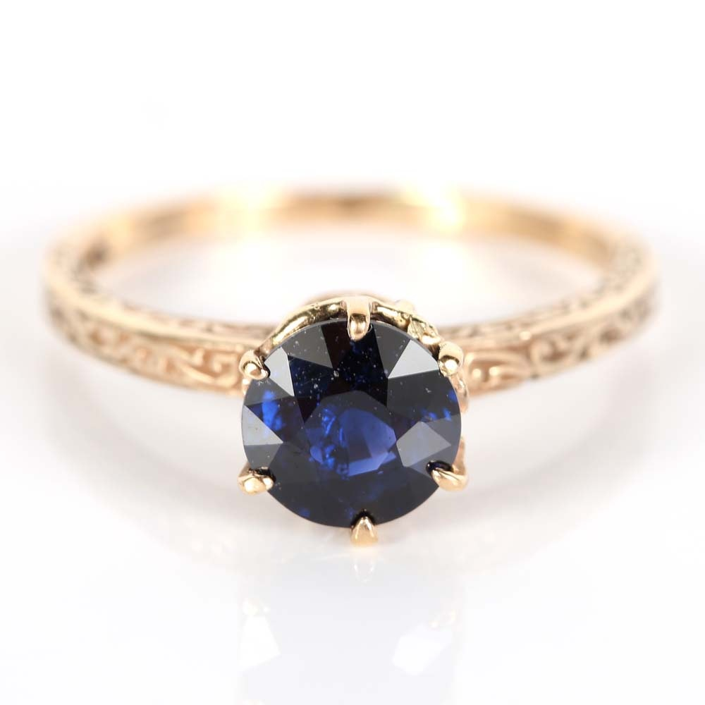 14K Yellow Gold Sapphire Ring in a Vintage Setting