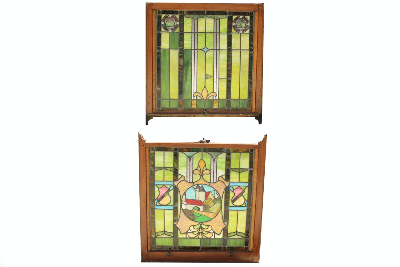 1920's Two Panel Stained Glass Window of a Castle