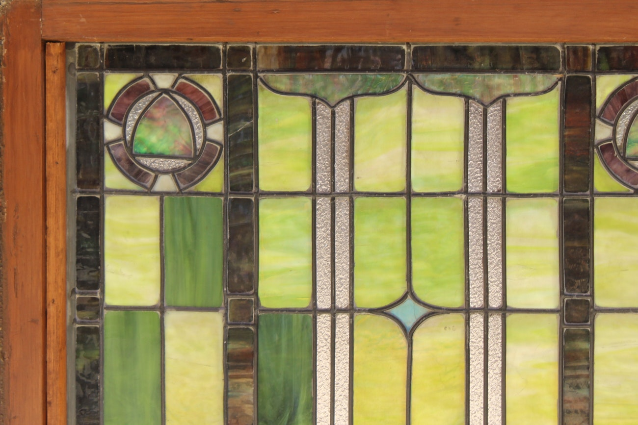 1920s two panel stained glass window of a castle ebth for 1920s window