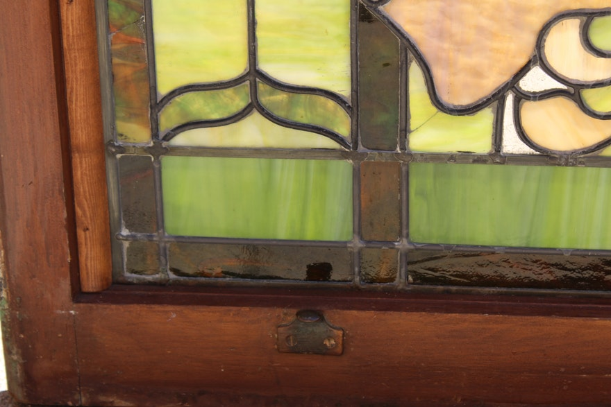 1920s two panel stained glass window of a castle ebth for 15 panel beveled glass door