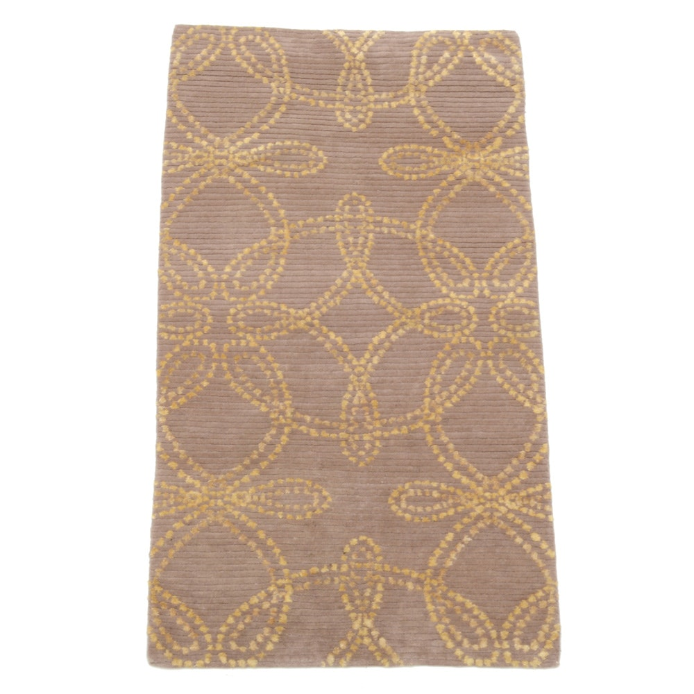 Nepali Hand-Knotted Contemporary Silk and Wool Rug