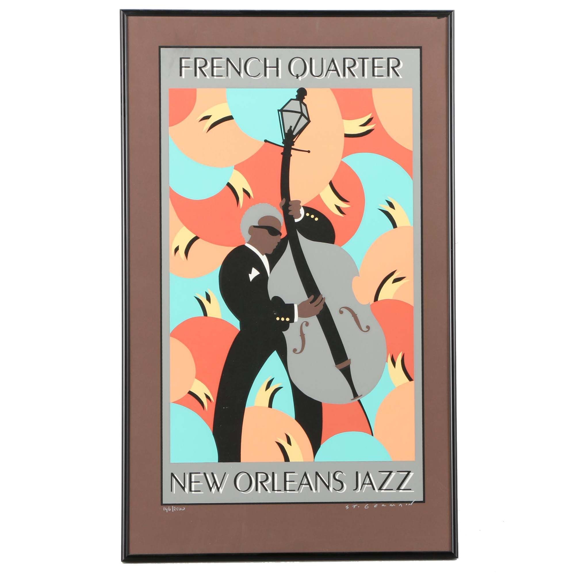 Stephen St. Germain Signed Limited Edition Serigraph Poster French Quarter New Orleans Jazz