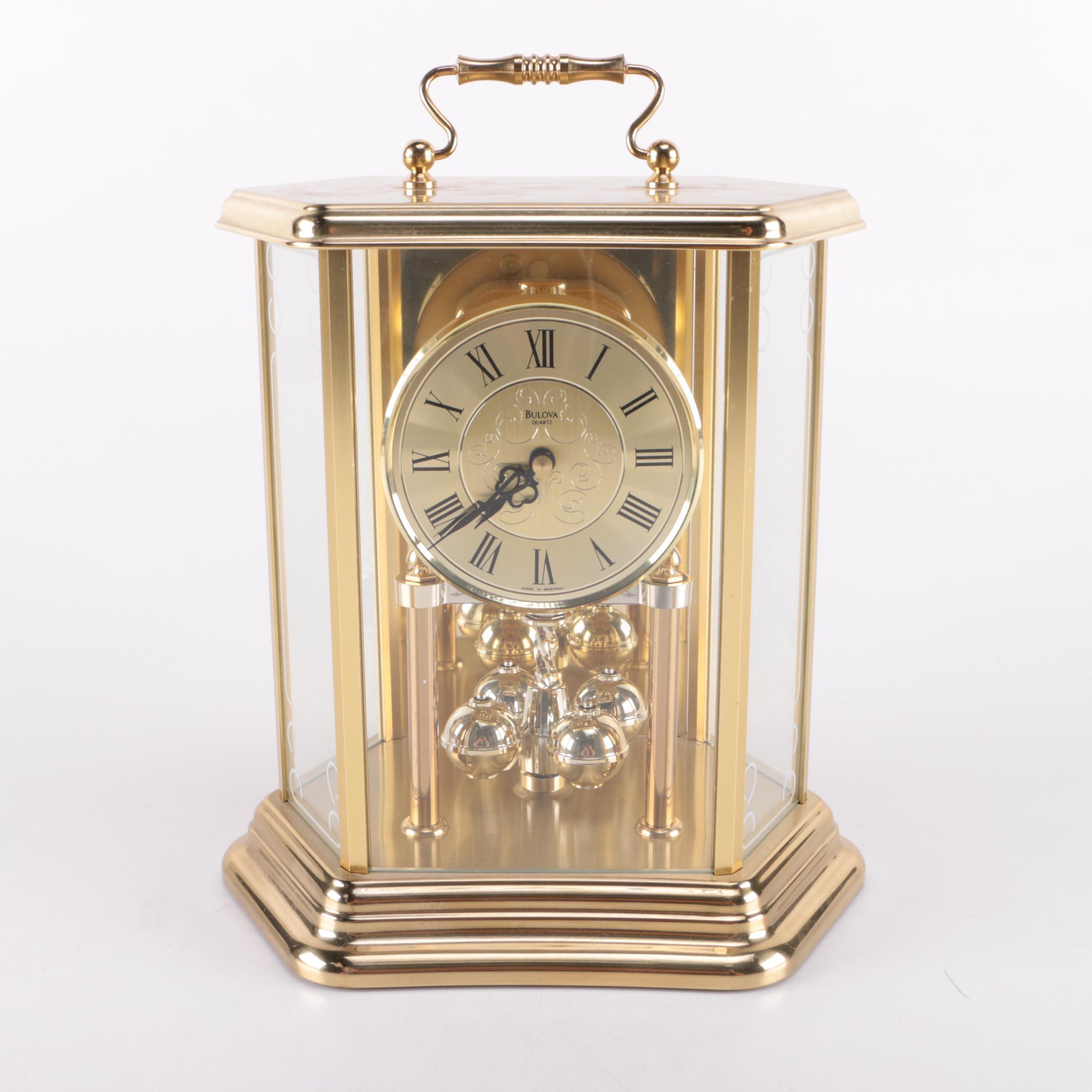 Brass Bulova Carriage Clock Ebth
