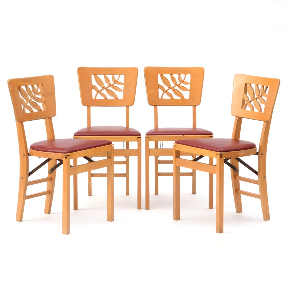 Vintage Set of Wood Folding Chairs by Stakmore