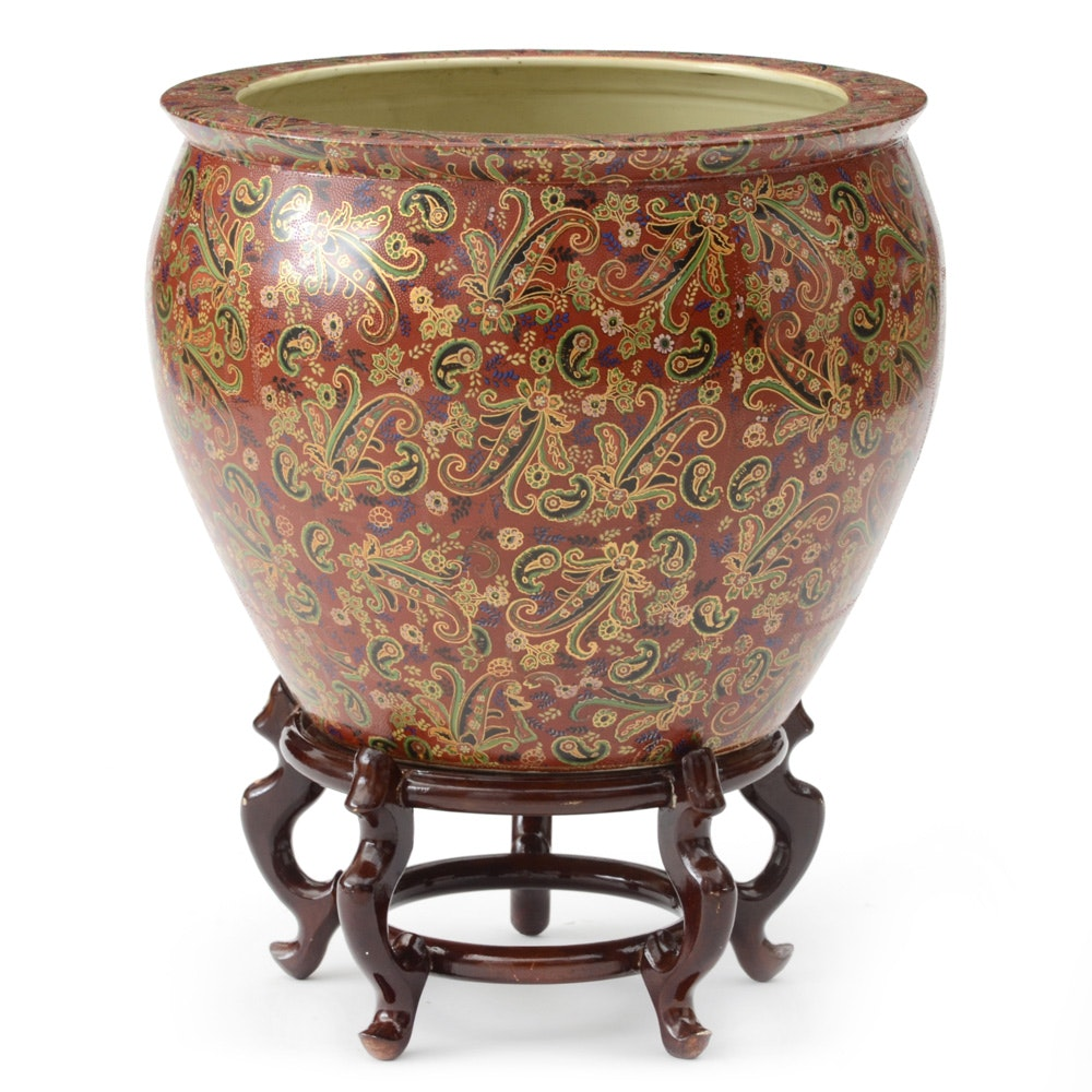 Asian-Inspired Fish Bowl Ceramic Pot with Stand