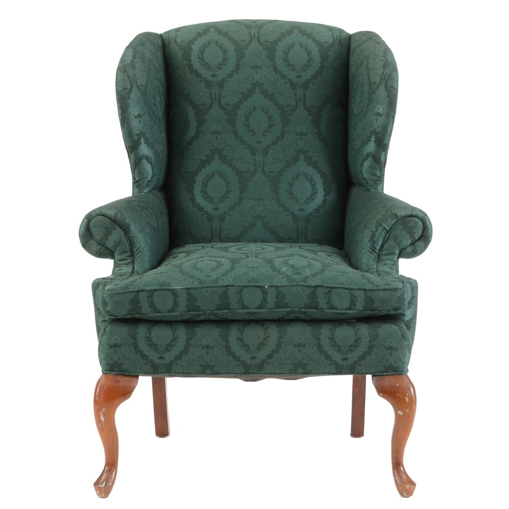 Green Upholstered Wingback Chair