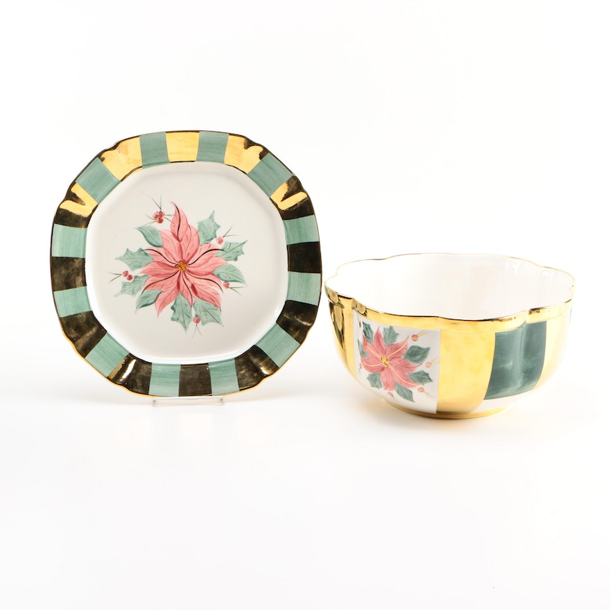 Laurie Gates Los Angeles Pottery Plate And Bowl Ebth