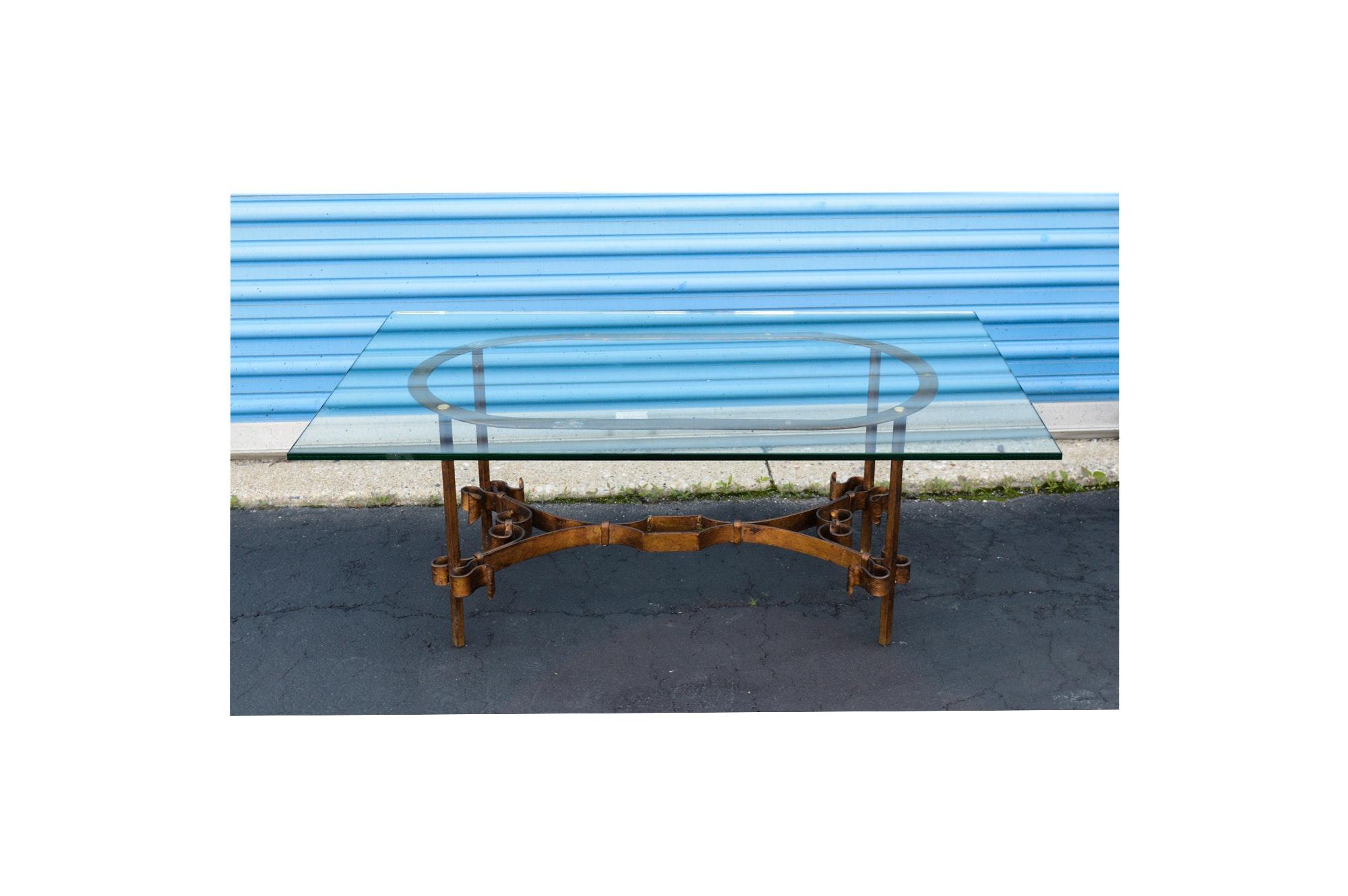 Glass Top and Metal Coffee Table