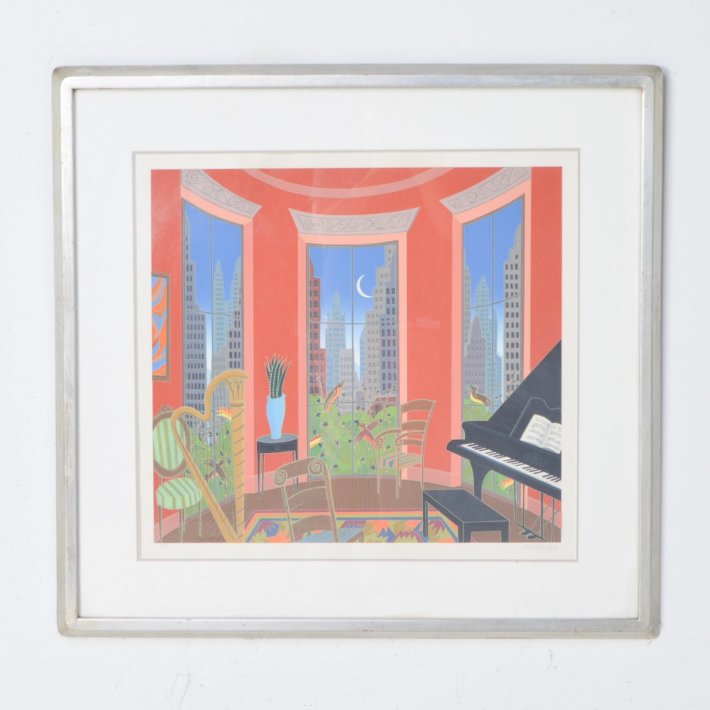 "Thomas McKnight Signed Limited Edition Serigraph ""Music in Manhattan"""