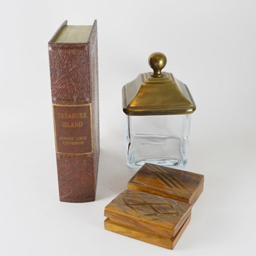 Treasure Island Decorator Box Wood Boxes And Glass Jar EBTH Unique Decorator Boxes
