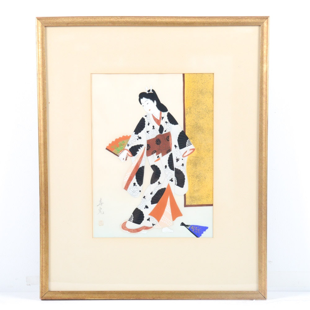 Japanese Gouache on Silk Painting