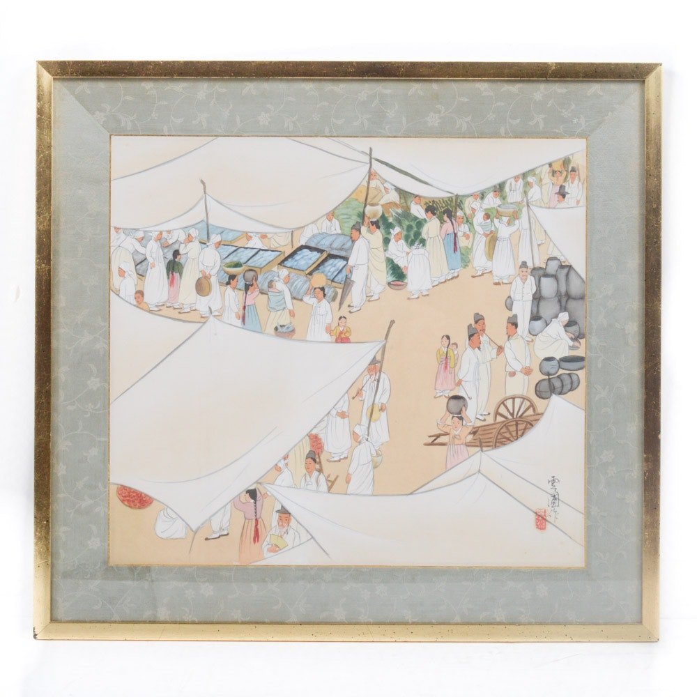 Gouache on Silk Chinese Market Painting