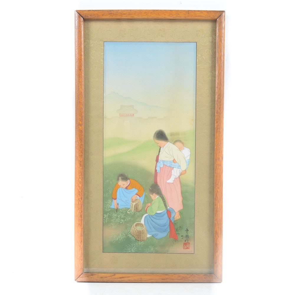 Chinese Gouache on Silk Painting of Mother and Children