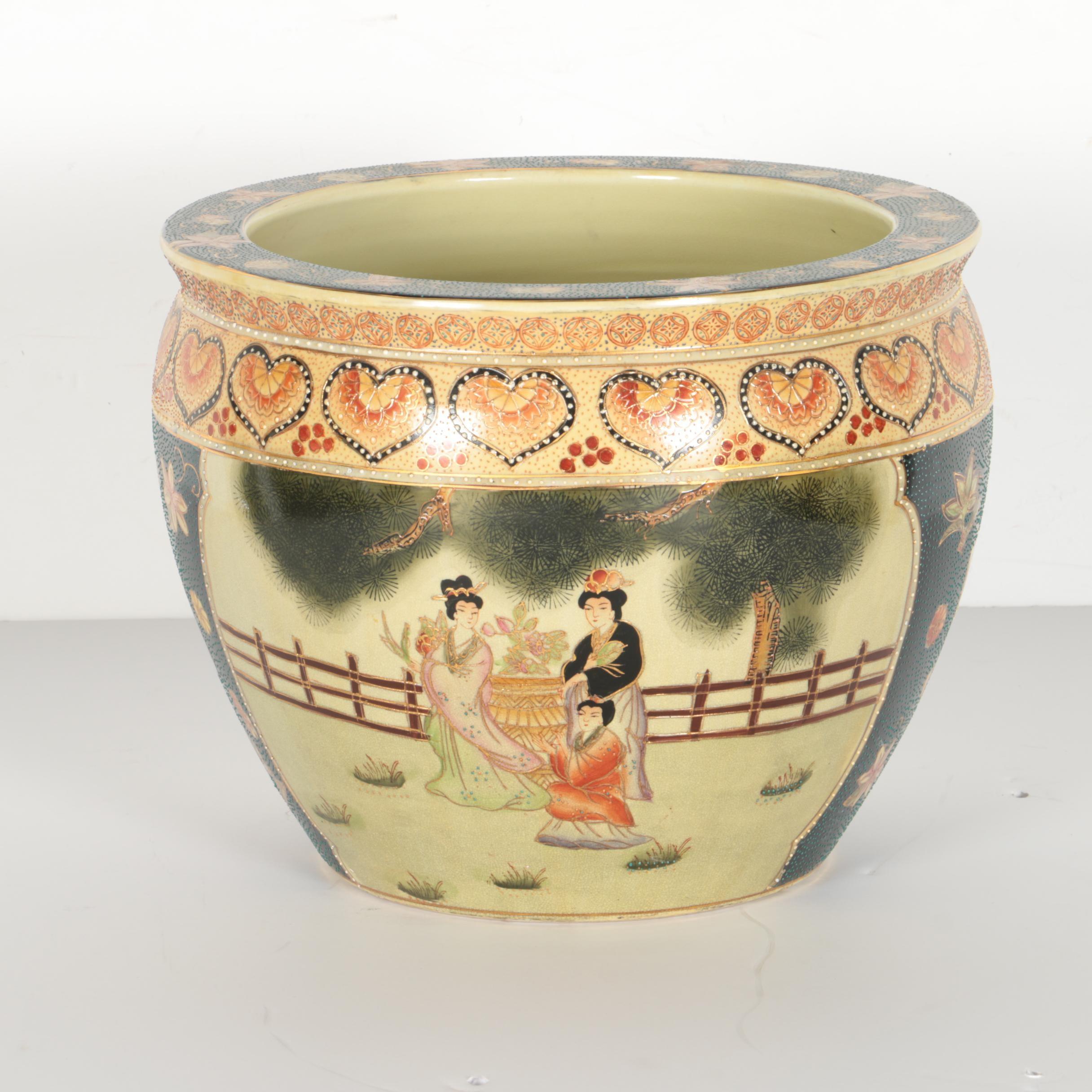 Chinese Ceramic Fish Bowl Planter