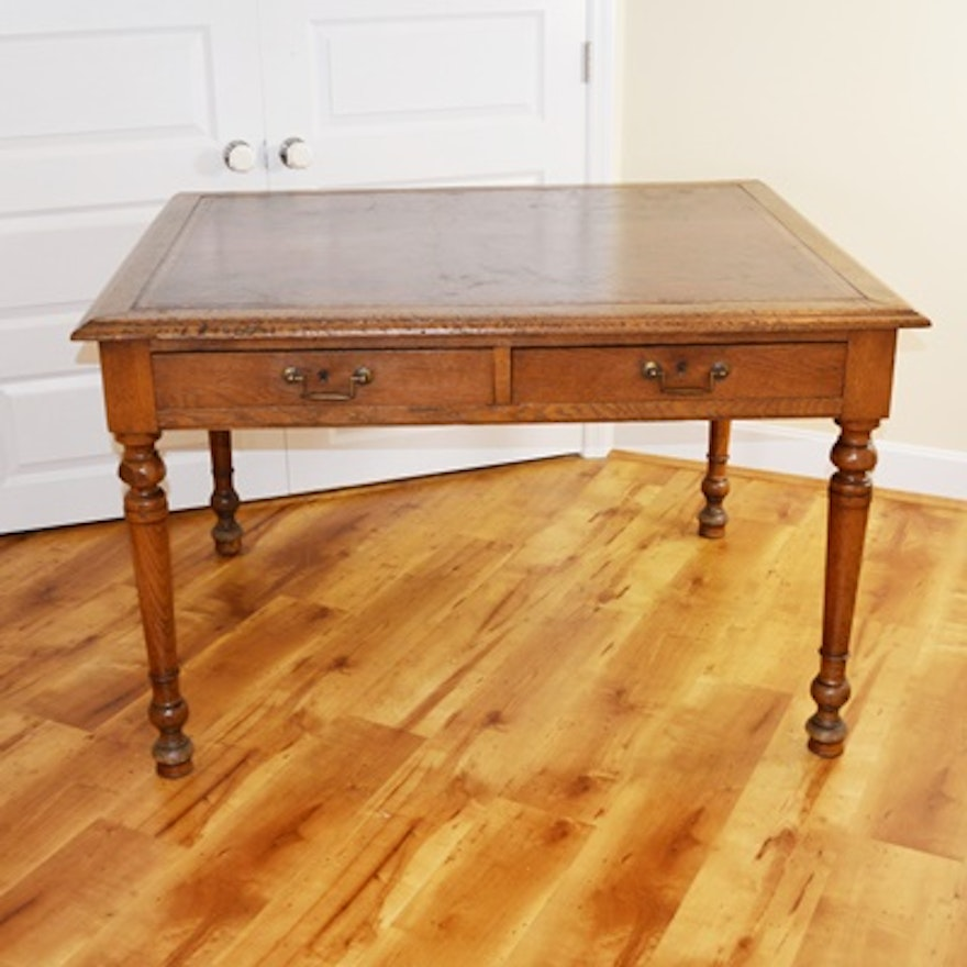 Antique Oak Partners' Desk With Leather Writing Surface ... - Antique Oak Partners' Desk With Leather Writing Surface : EBTH