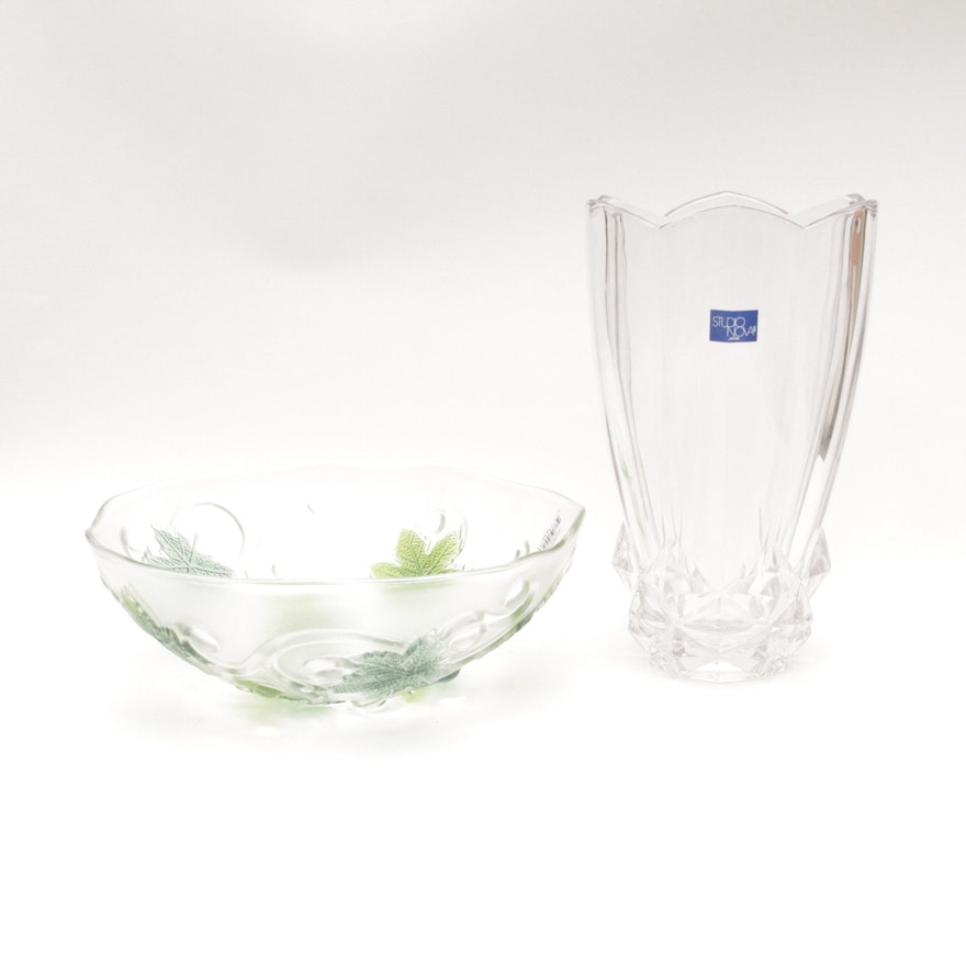 Studio Nova Glass Serving Bowl And Vase Ebth