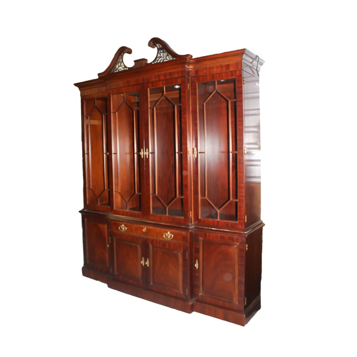 Henredon Lighted Breakfront China Cabinet