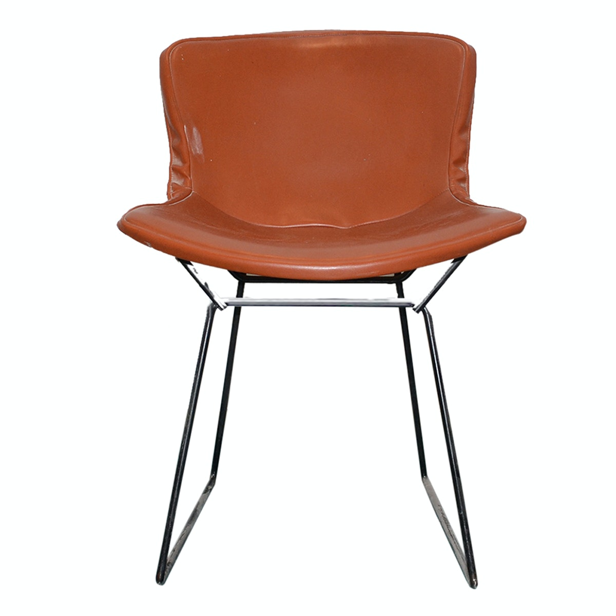 Metal and Leather Side Chair by Harry Bertoia for Knoll