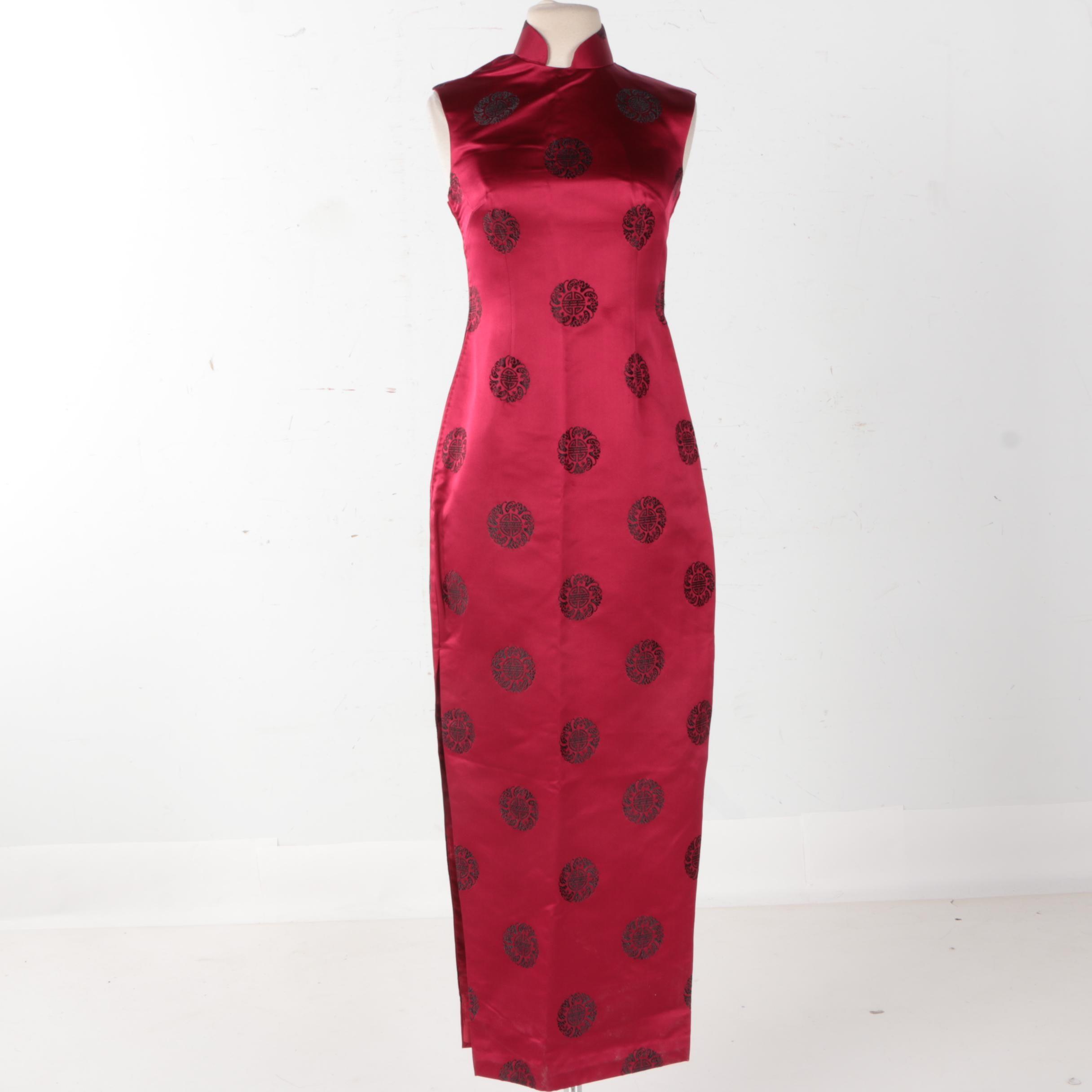 Chinese Inspired Red Silk Dress