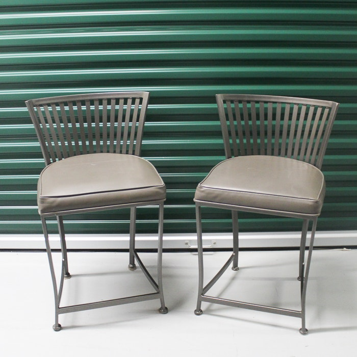 Slatted Back Metal Chairs