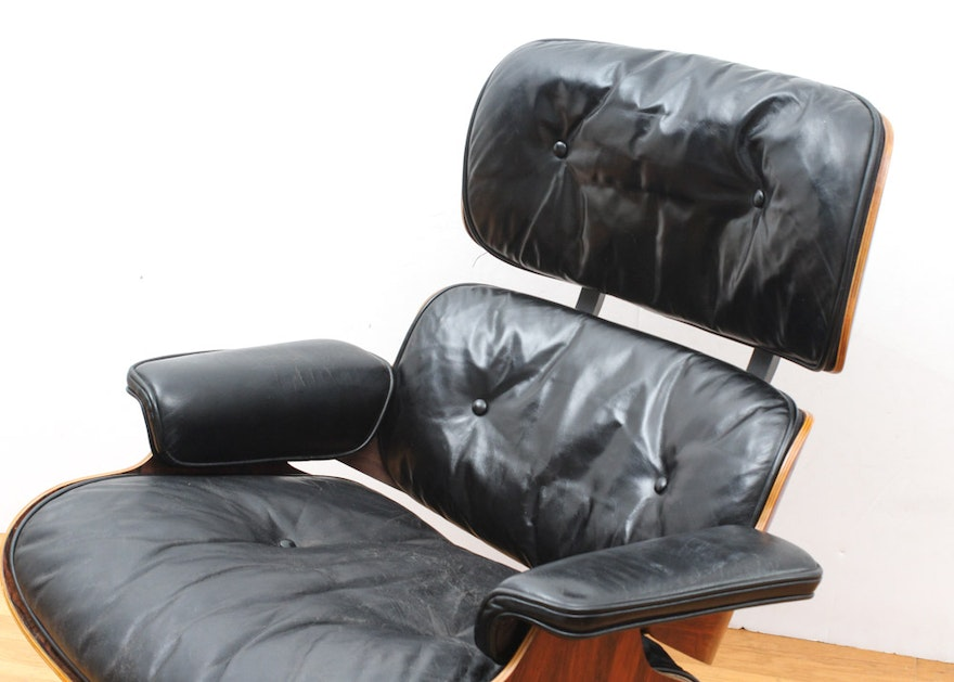 Rare 1956 Rosewood Eames Lounge Chair With Later Ottoman
