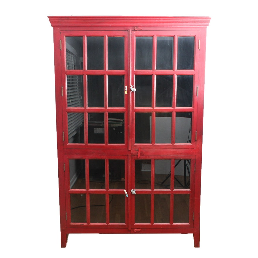 Rojo Red Tall Cabinet By Crate Barrel