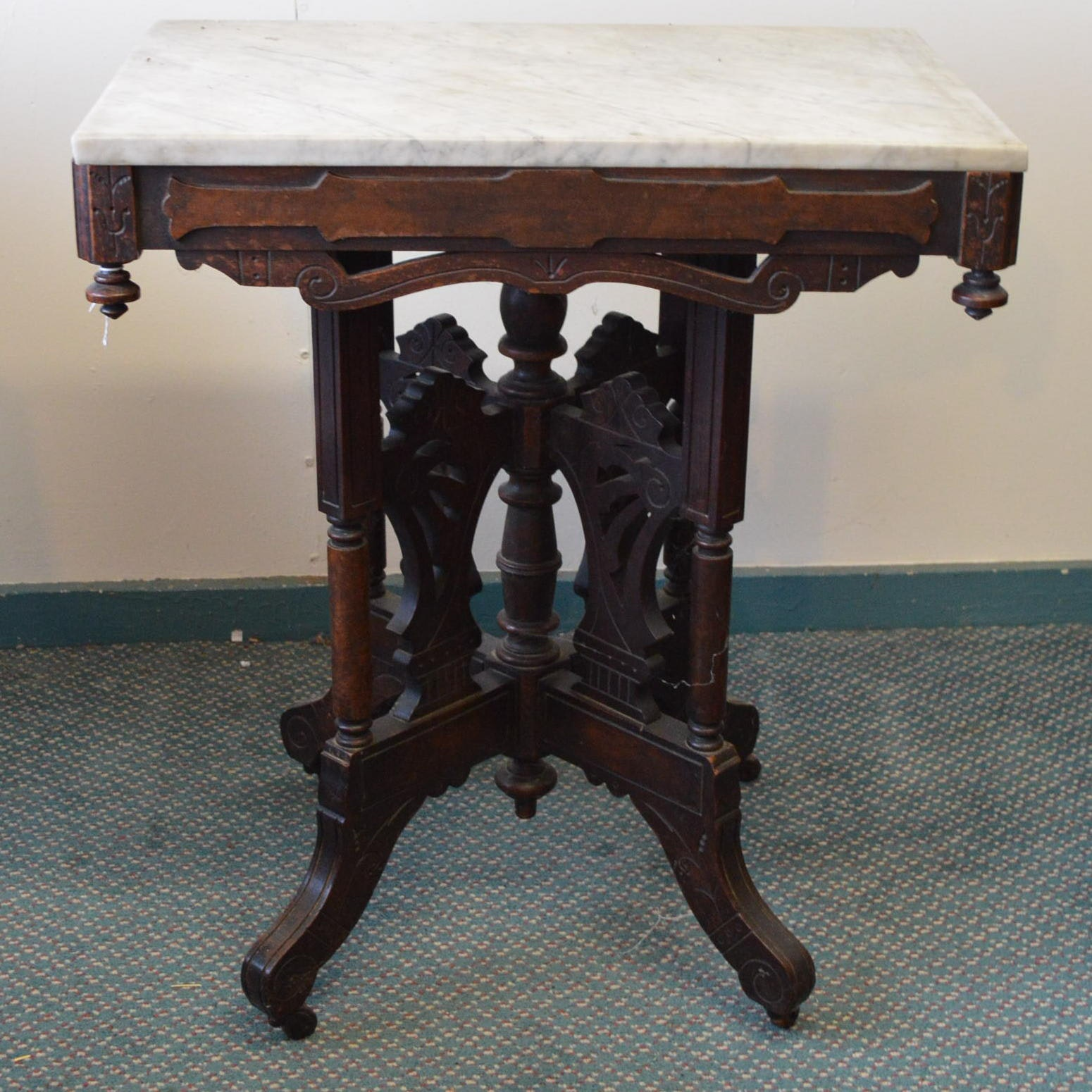 Marble-Topped Eastlake Style Side Table