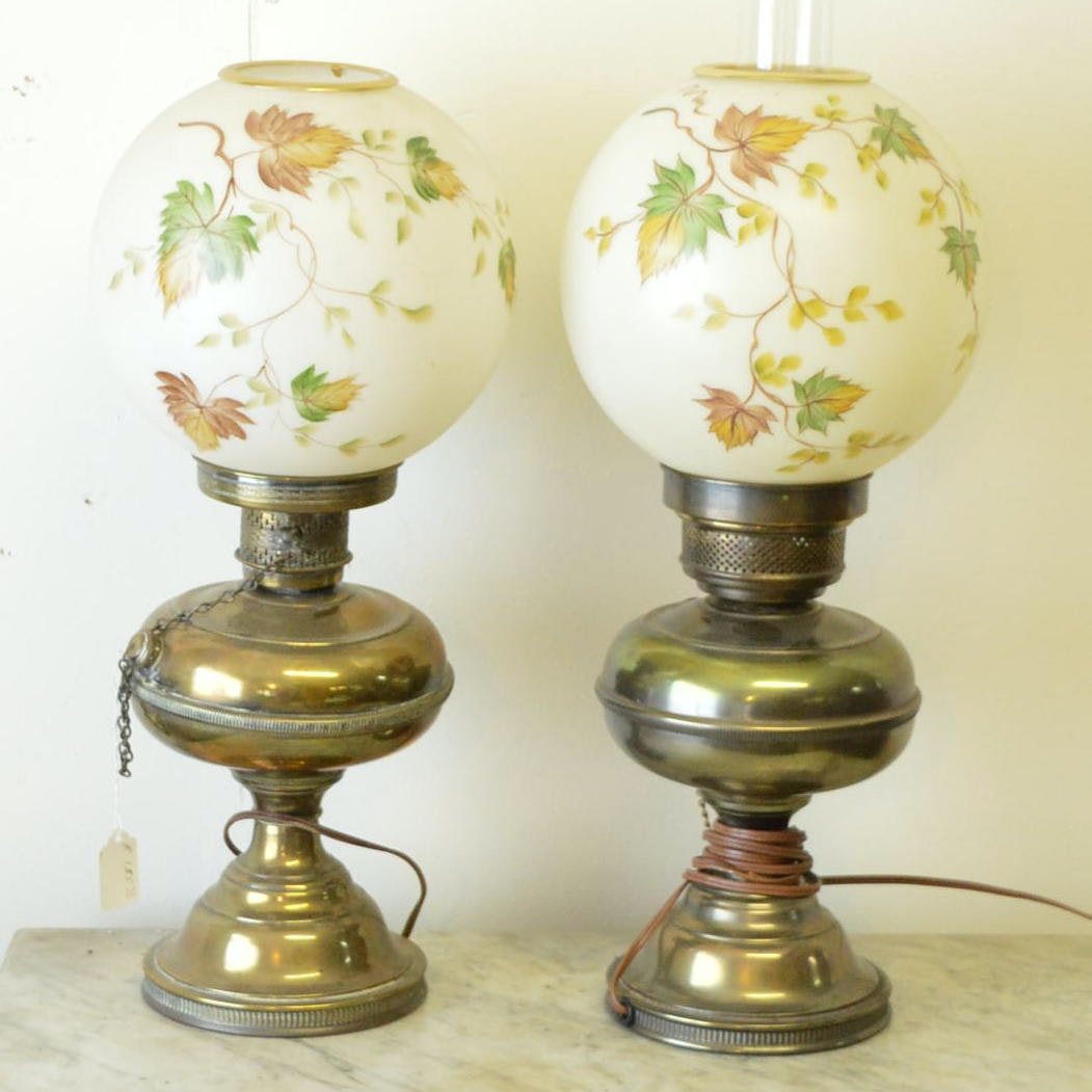 Converted Oil Brass Table Lamps With Hurricane Shades