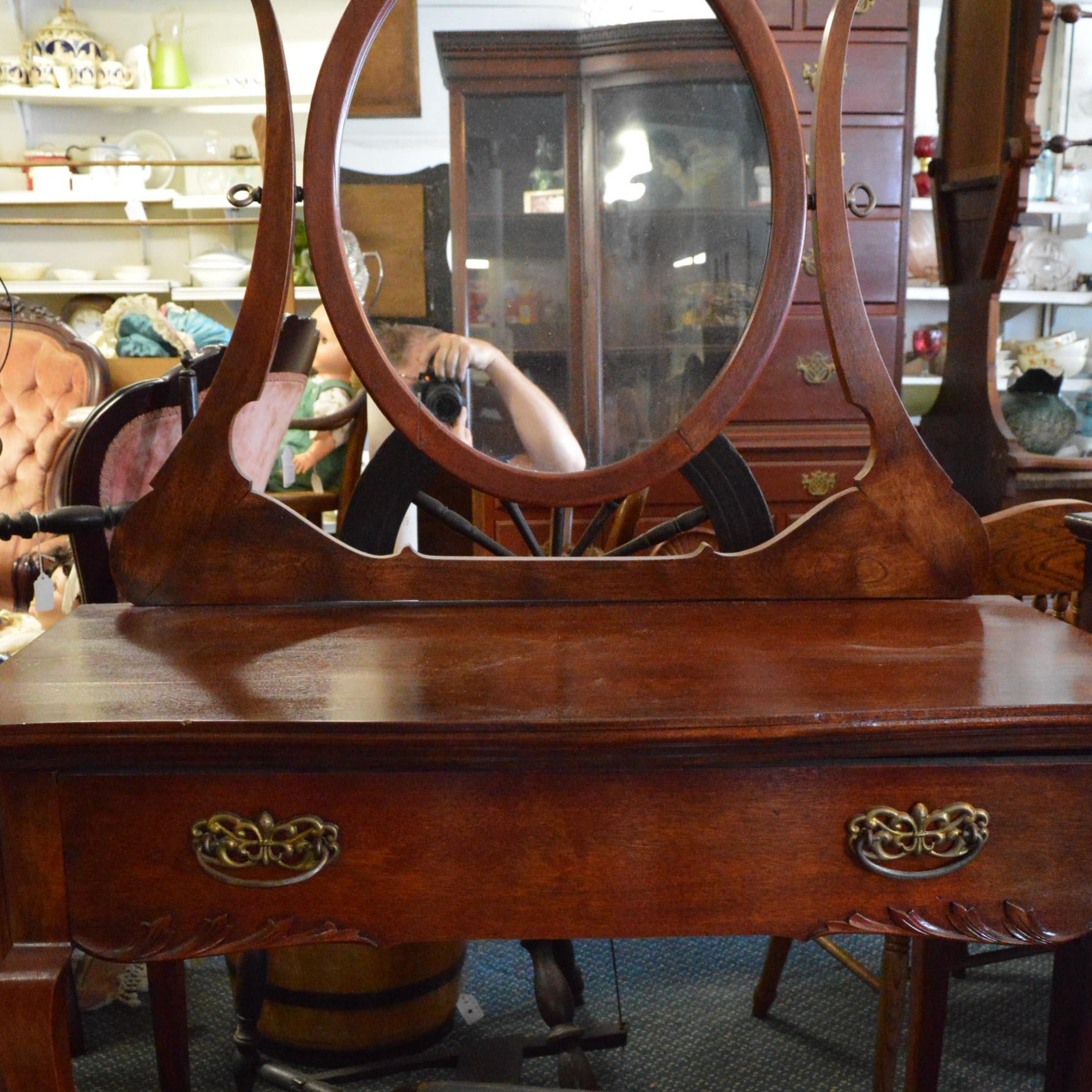 Louis XV Style Writing Desk With Empire Style Mirror and Vanity Bench
