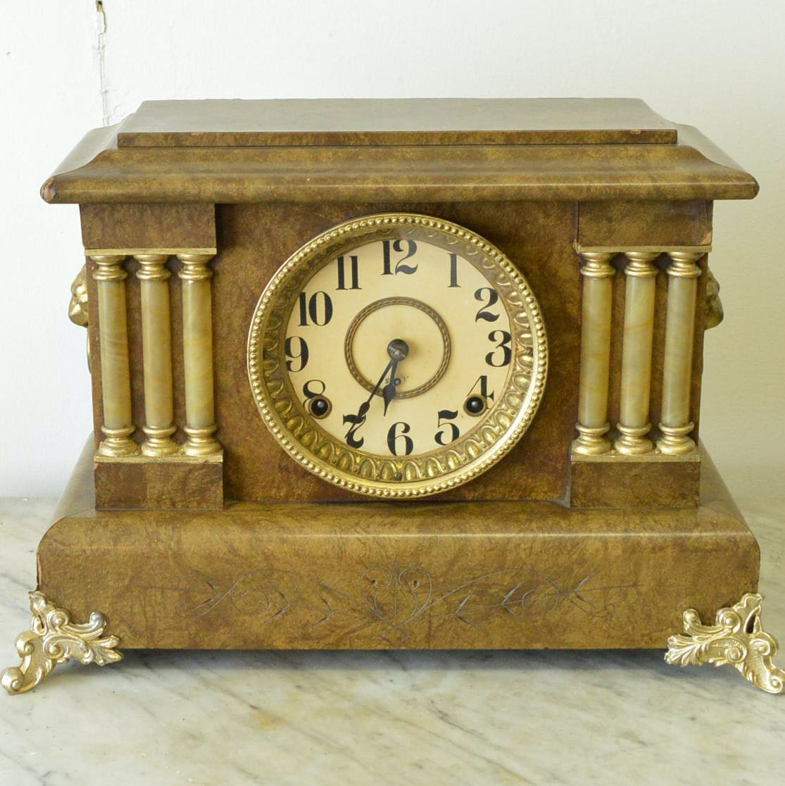 American Made Faux Burl Adamantine Style Mantle Clock