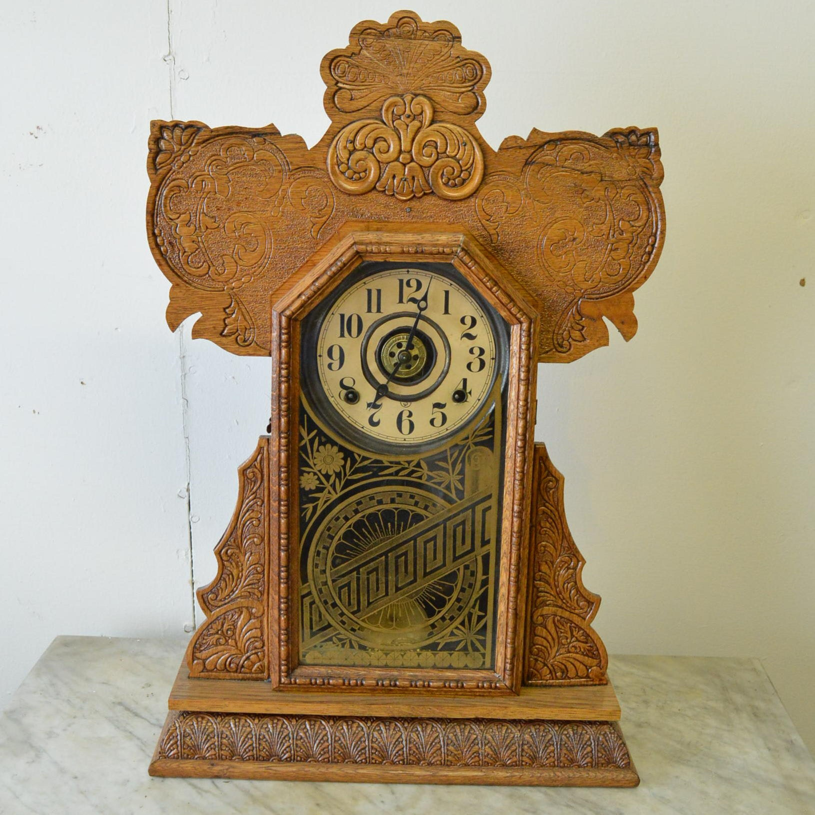 Antique Gingerbread Mantel Clock With Alarm