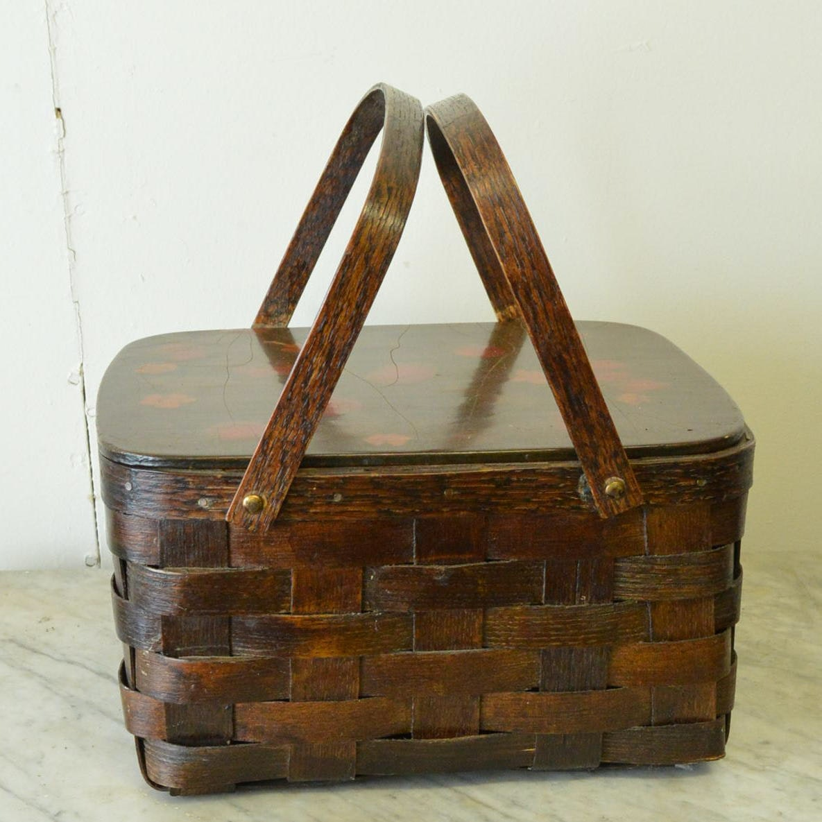 Vintage Wicker Picnic Basket With Hand Painted Design