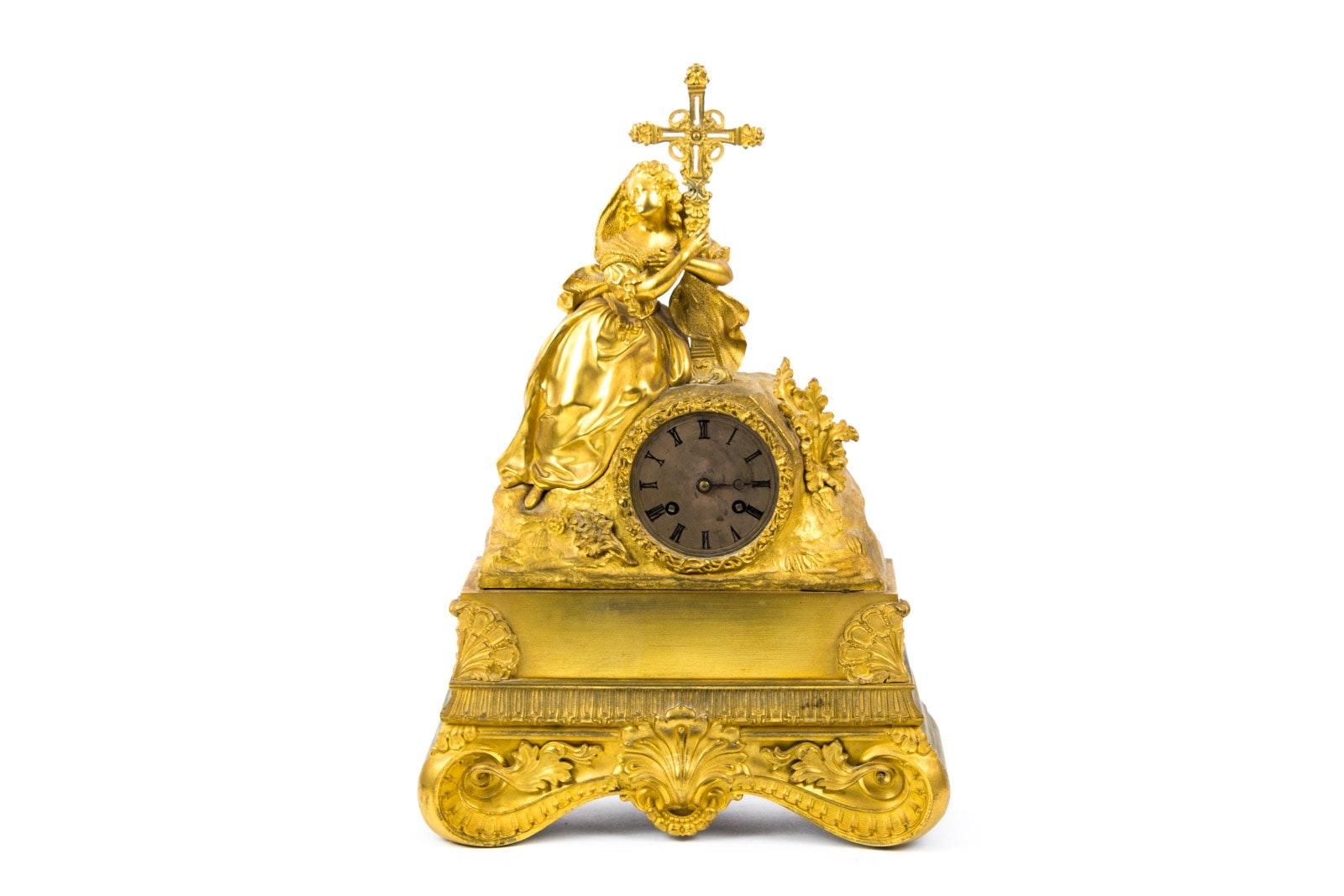 Antique to Vintage Brass Tone Metal Figural Mantel Clock