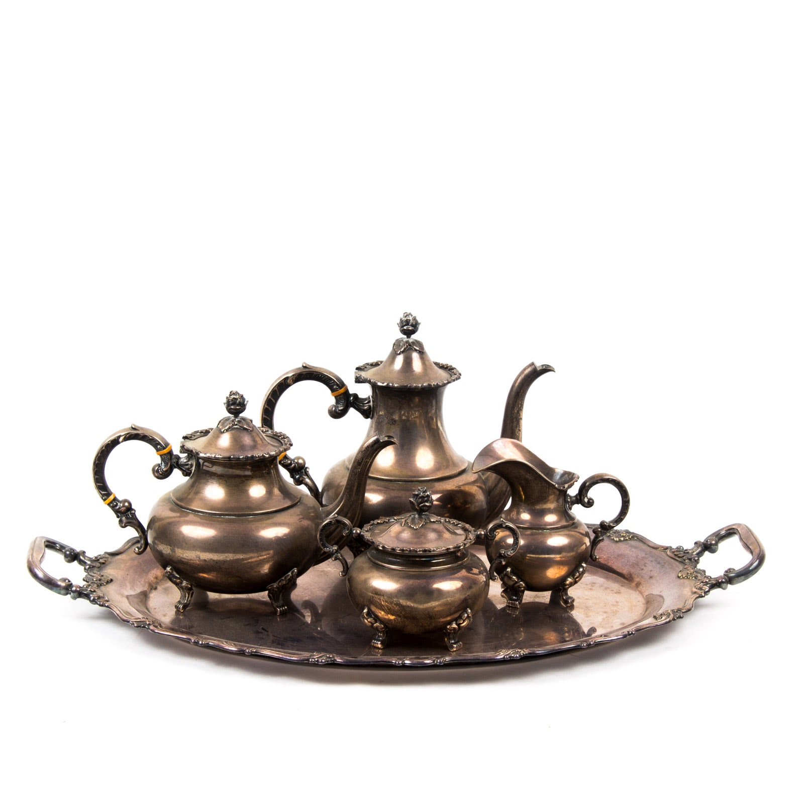 German Sterling Silver Tea and Coffee Set With Silver Tone Tray