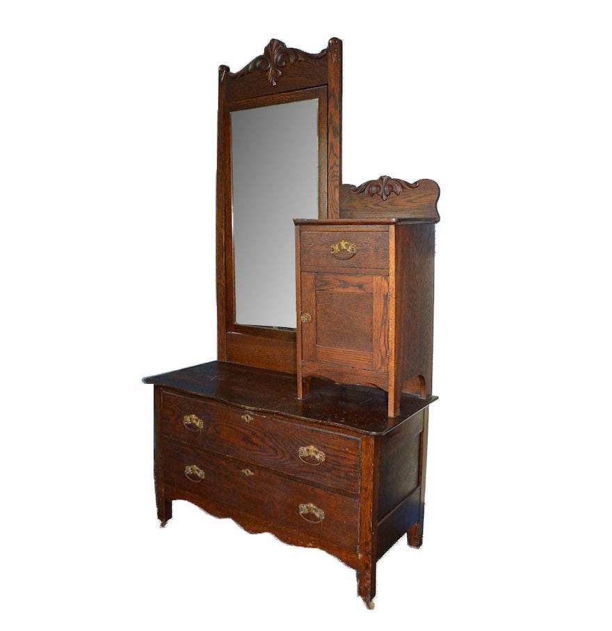 Vintage Oak Gentleman S Chest With Mirror And Hatbox Ebth