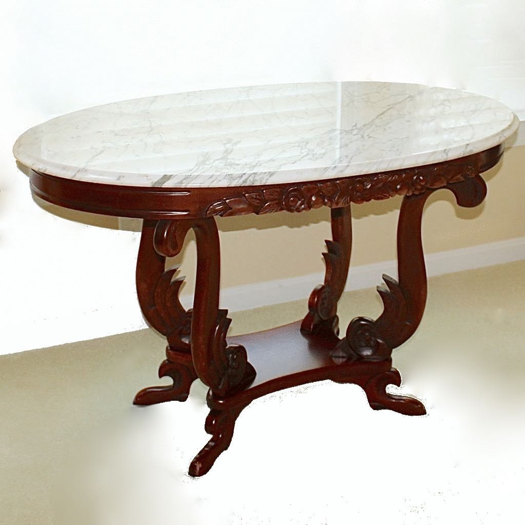 Victorian Marble Top Table with Carved Wood Base