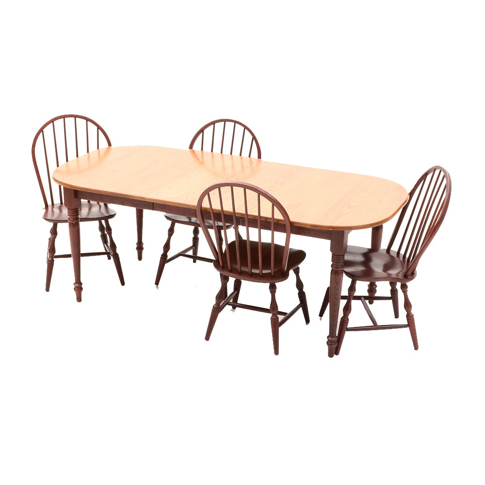 Oak Farmhouse Style Extendable Dining Table and Chairs
