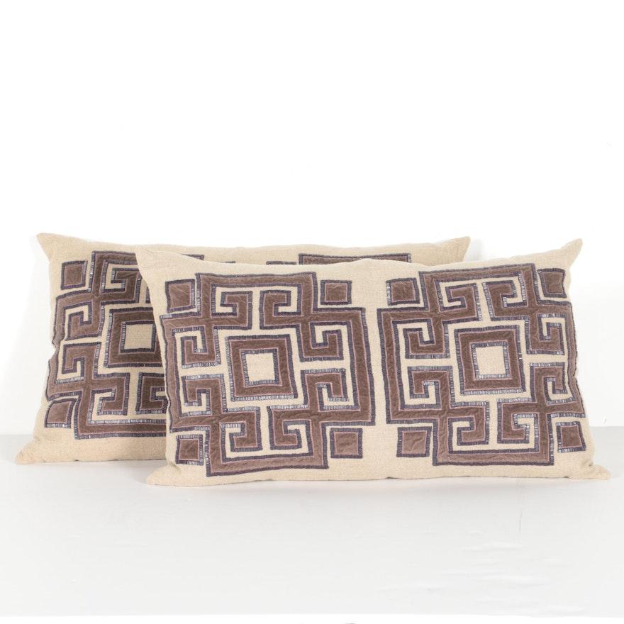 Two Callisto Home Jute And Velvet Decorative Pillows EBTH New Callisto Home Decorative Pillows