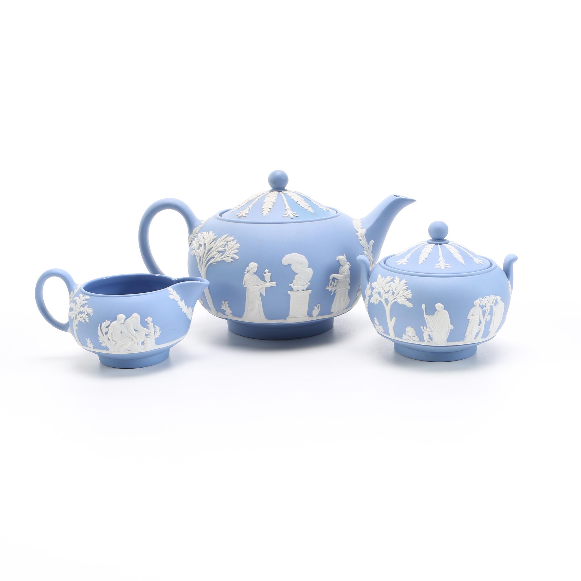 Wedgwood Blue Jasperware Tea Service