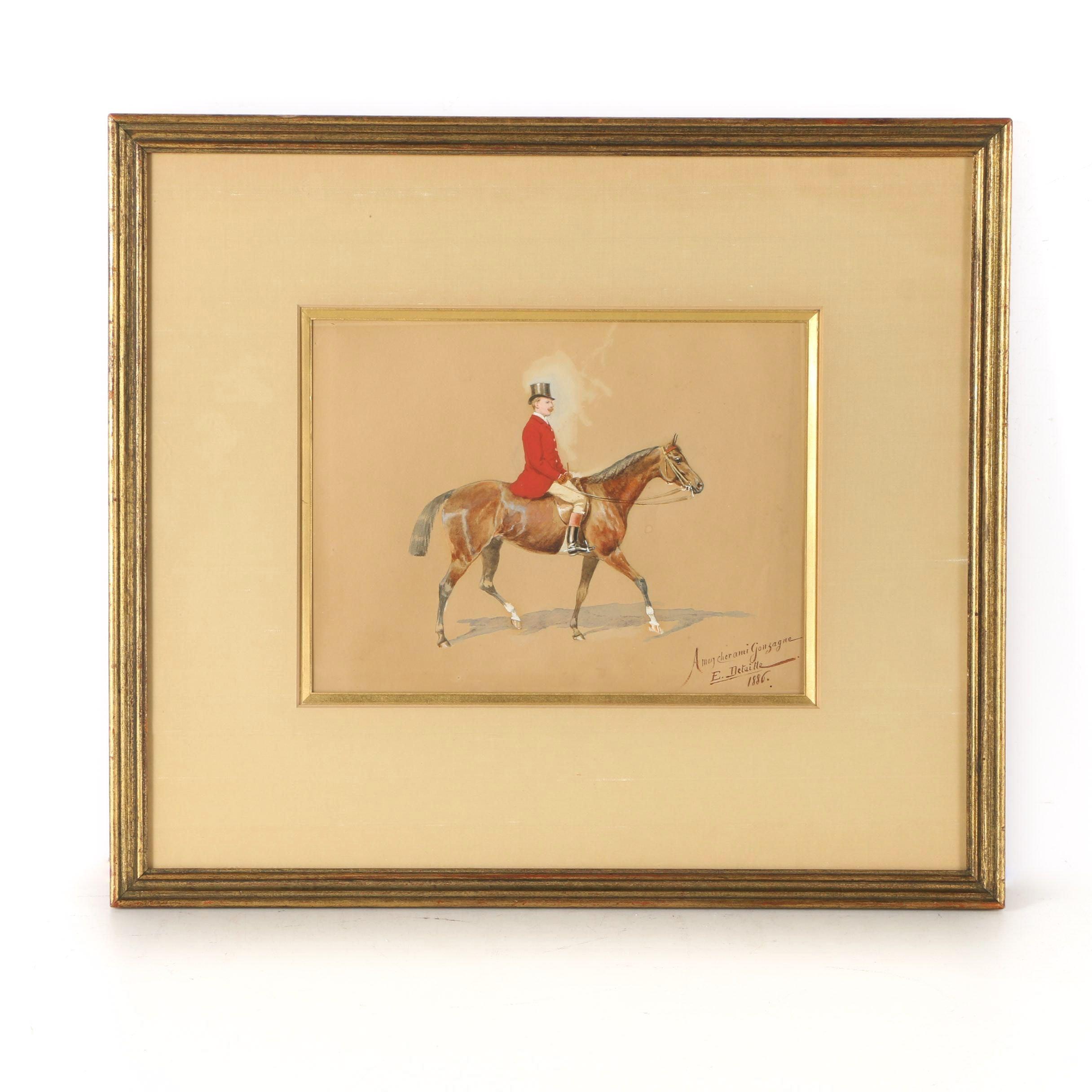 1886 Jean-Baptiste Édouard Detaille Watercolor and Gouache Equestrian Portrait