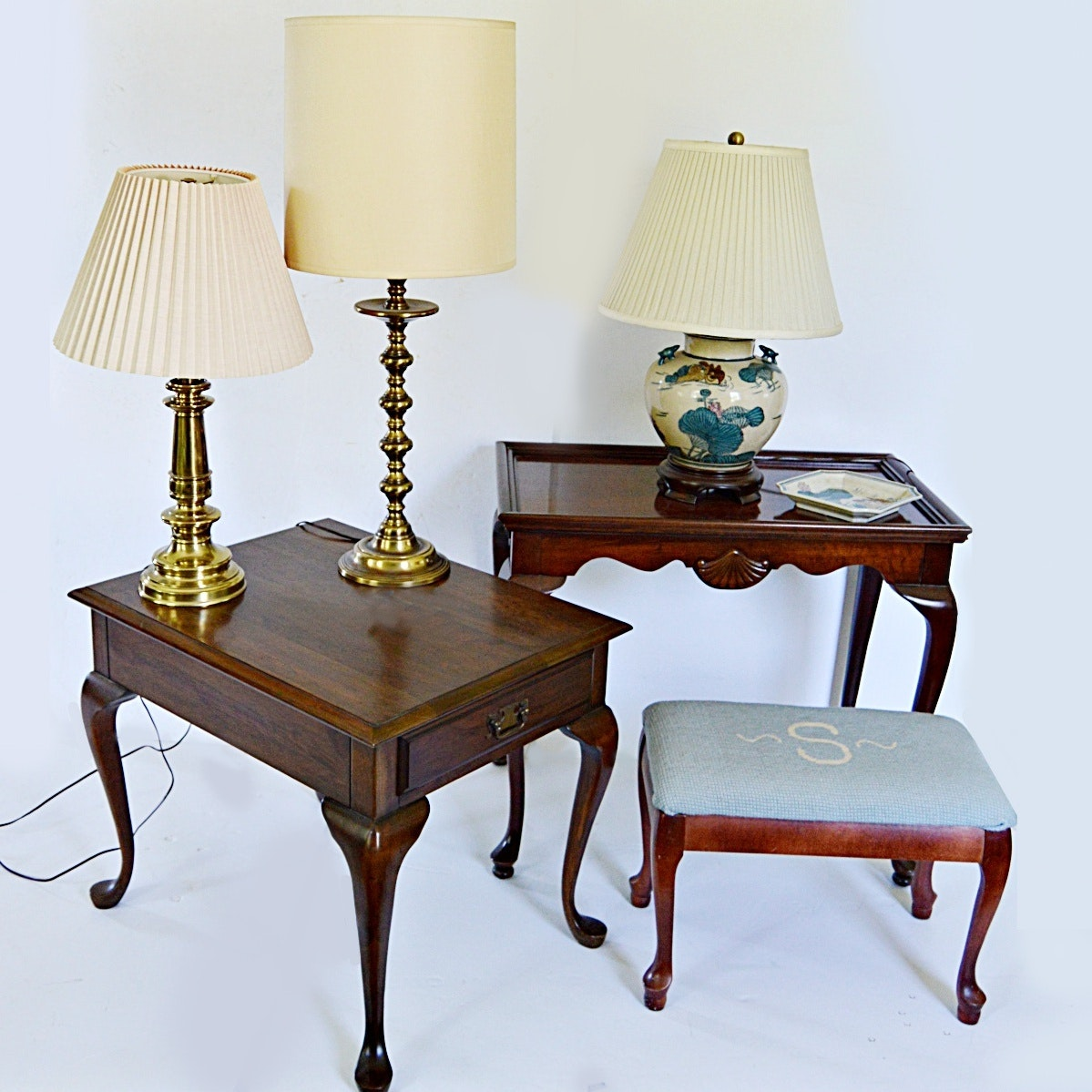 Queen Anne Style Tables, Stool, Stiffel Brass Lamp, Chinese Lamp