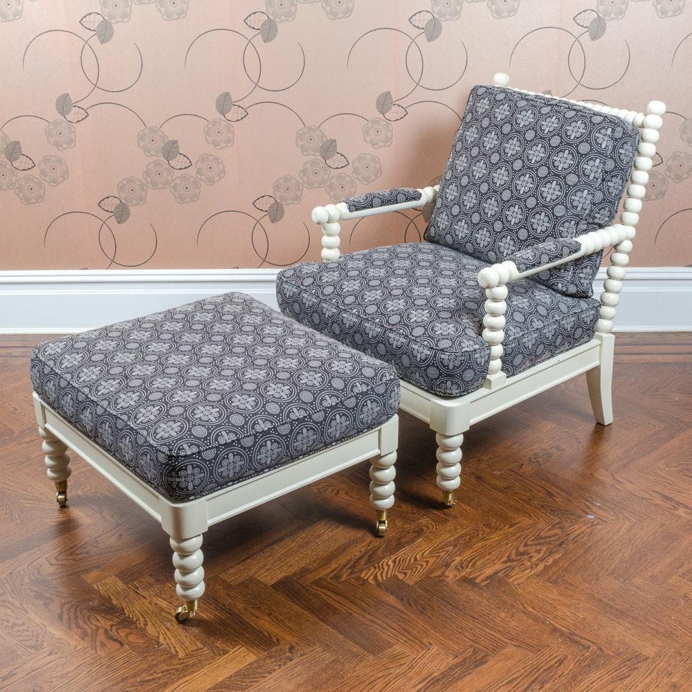 Bobbin Spindle Armchair and Ottoman