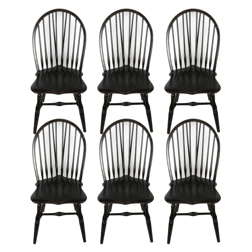six brace back windsor style black dining chairs ebth