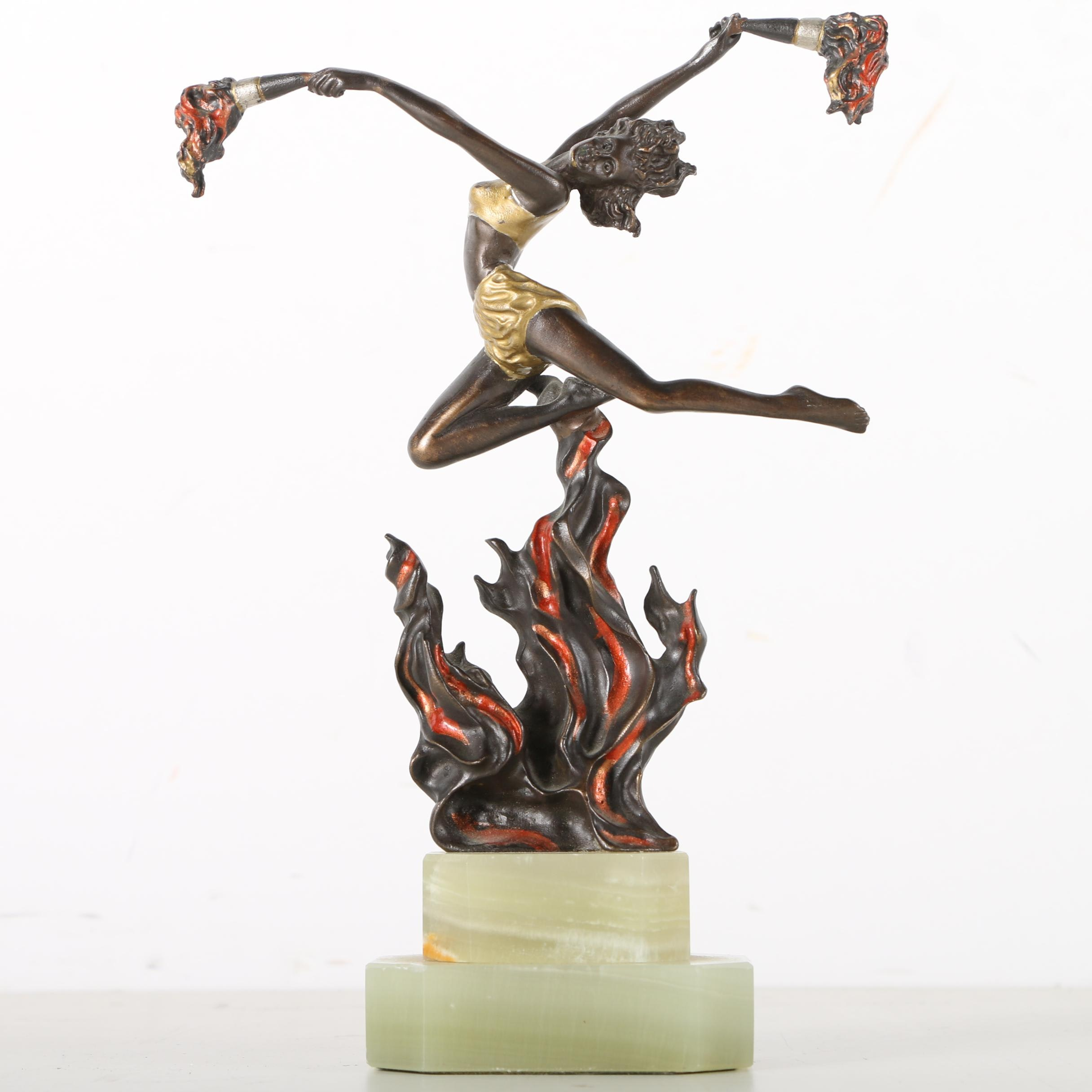 """Cast Copper Painted Reproduction Sculpture After Ferdinand Preiss """"The Flame Leaper"""""""