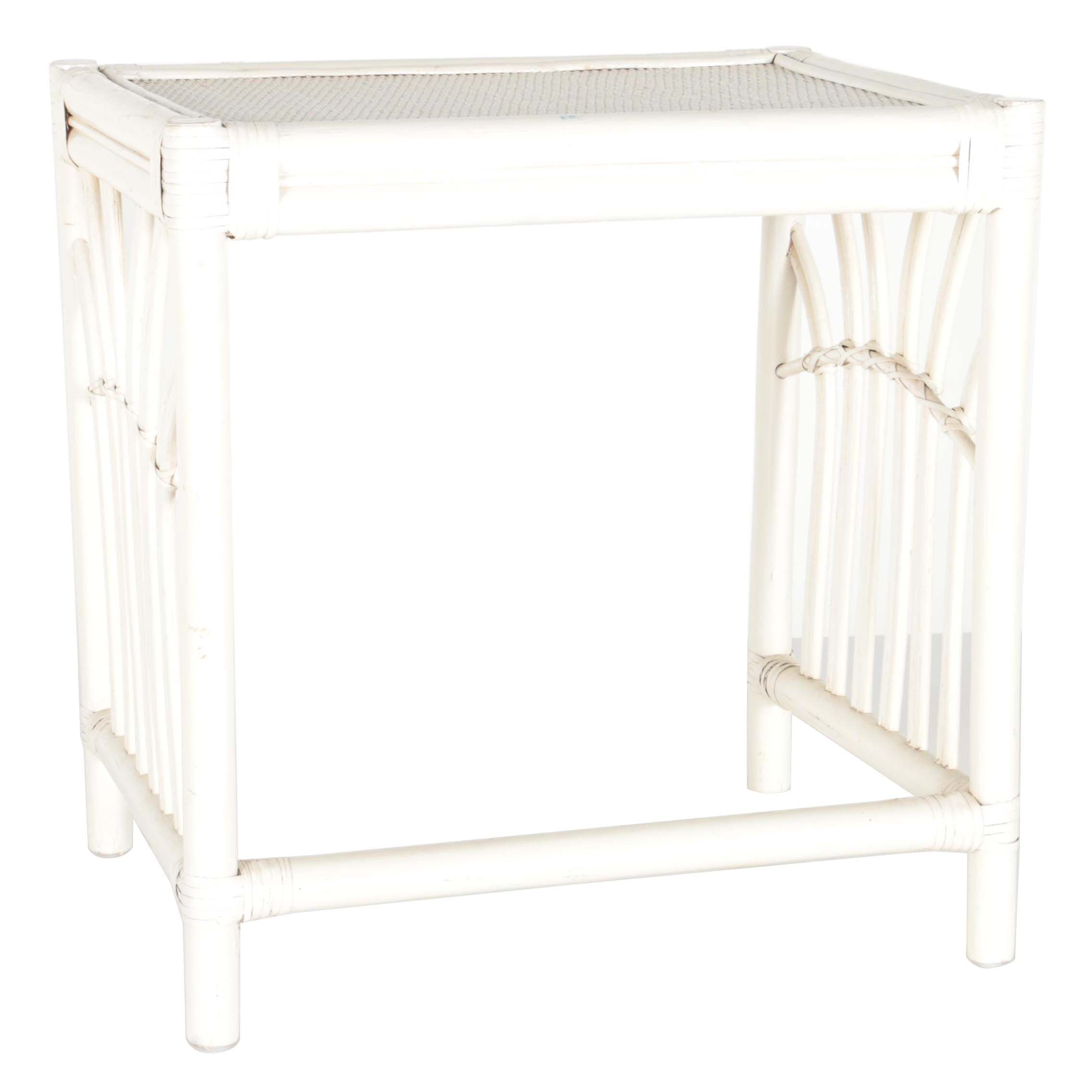 White-Painted Wicker Top End Table