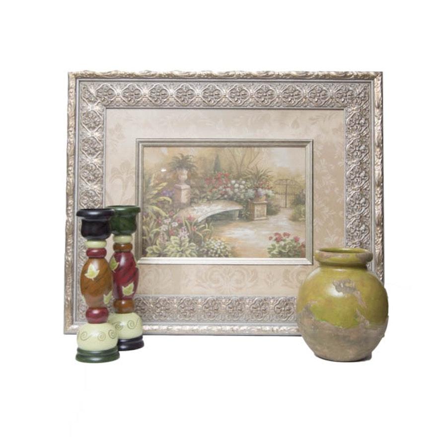 Pottery Barn Vase Anita Rosenberg Candlesticks And Large Framed