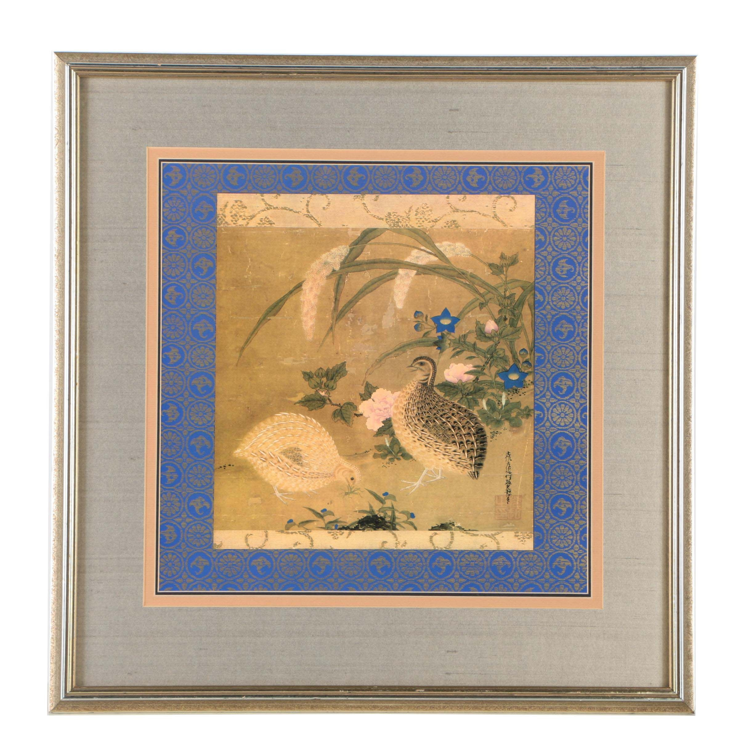 """Offset Lithograph after """"Quails and Flowers"""" by Tosa Mitsuoki"""