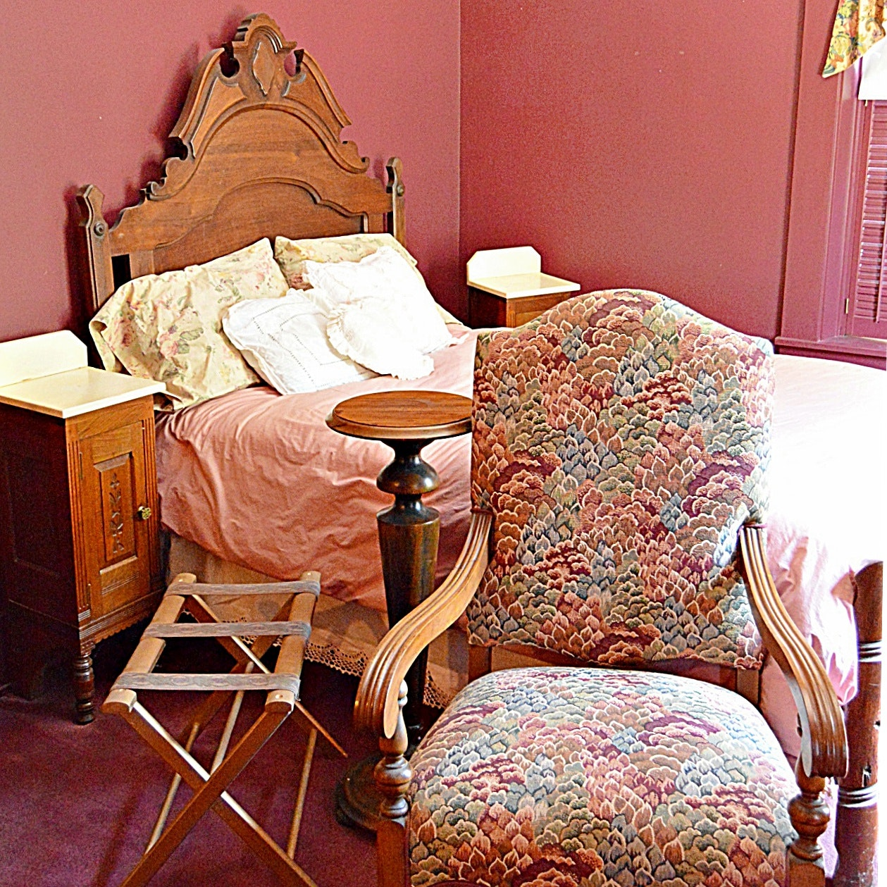 Five-Piece Gothic and Eastlake Walnut Victorian Furniture Group