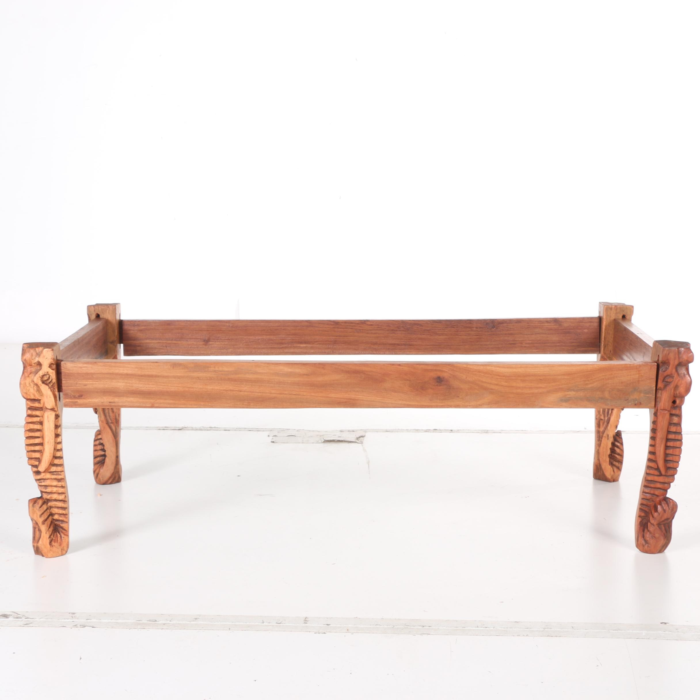 Carved Elephant Motif Coffee Table Frame