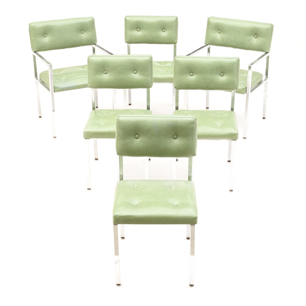 Set of Six Chrome and Vinyl Chairs